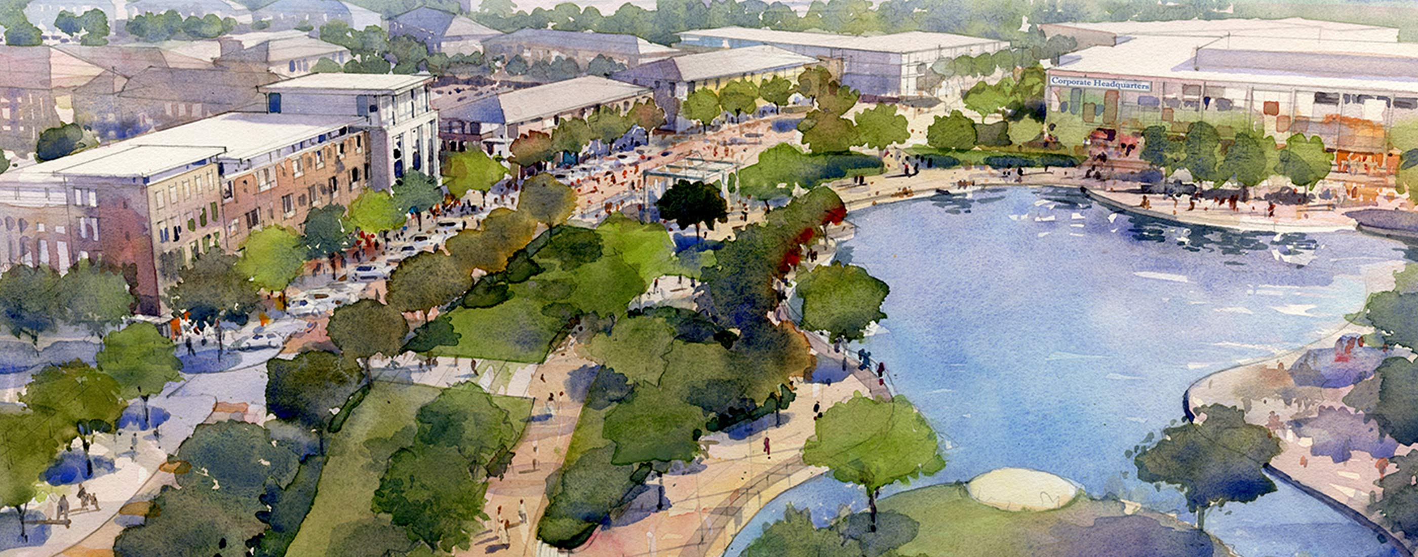 Water color of OHM Advisors' vision to develop Northland Mall in Southfield, MI