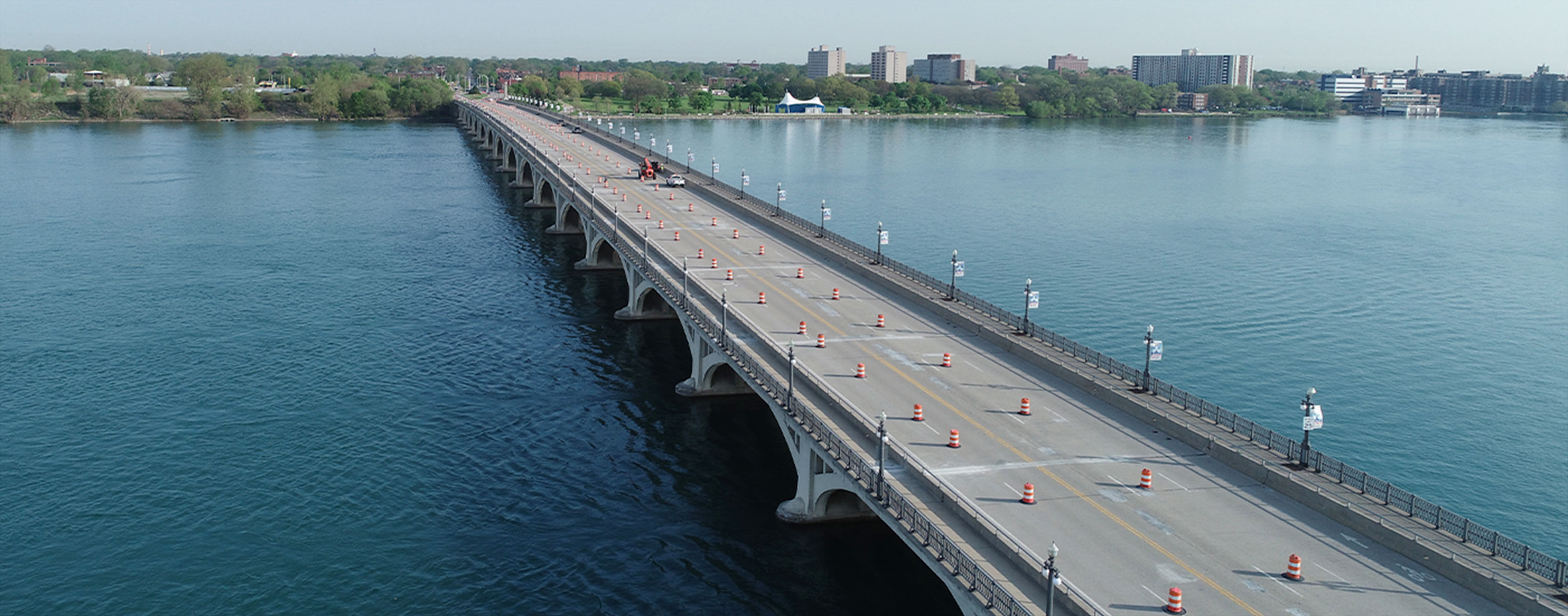Traffic cones set up as OHM Advisors helps MDOT preserve the Douglas A. MacArthur Bridge.