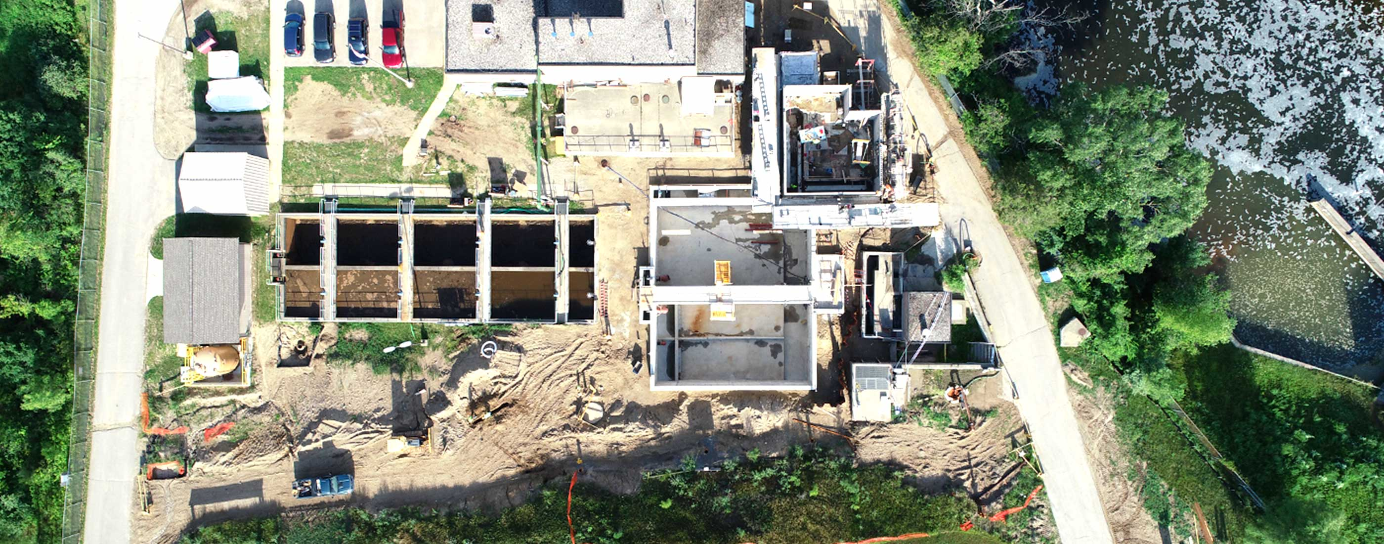 An aerial view of construction improvements to the Village of Milford's wastewater treatment plant.