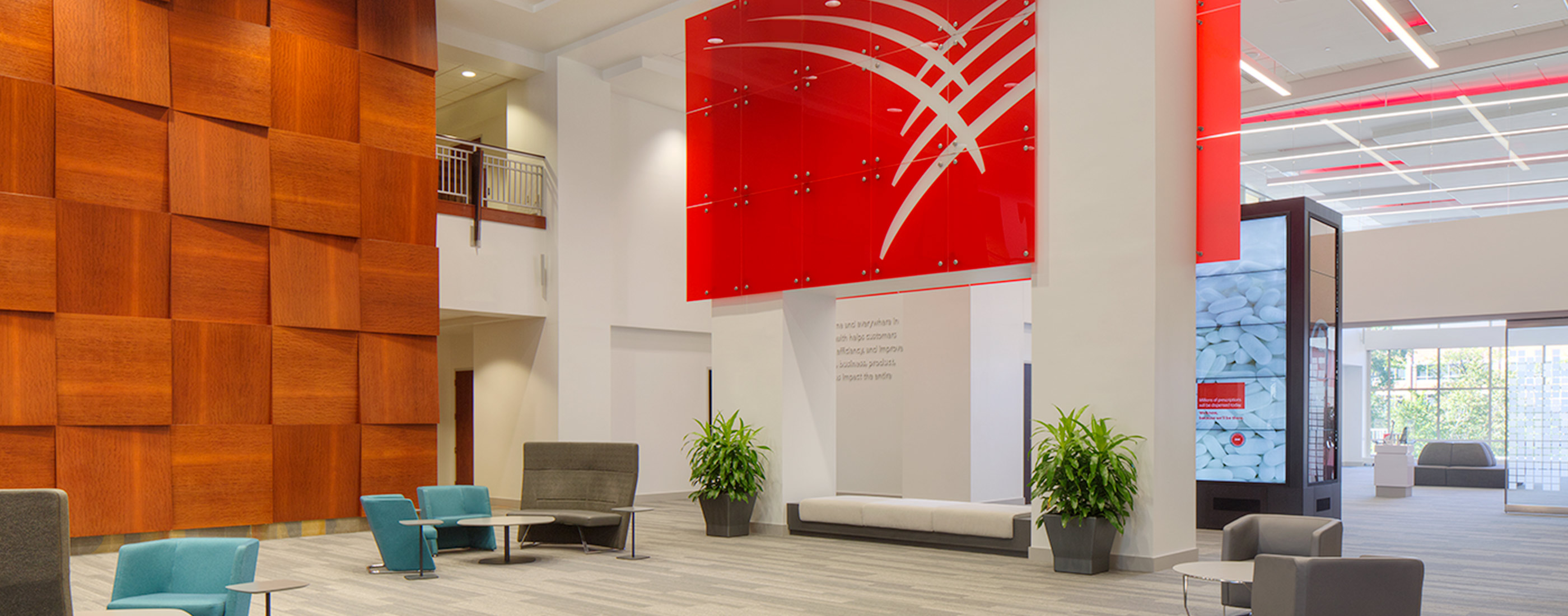 The bright, airy and open lobby at Cardinal Health's headquarters, helps engage employees and visitors alike.