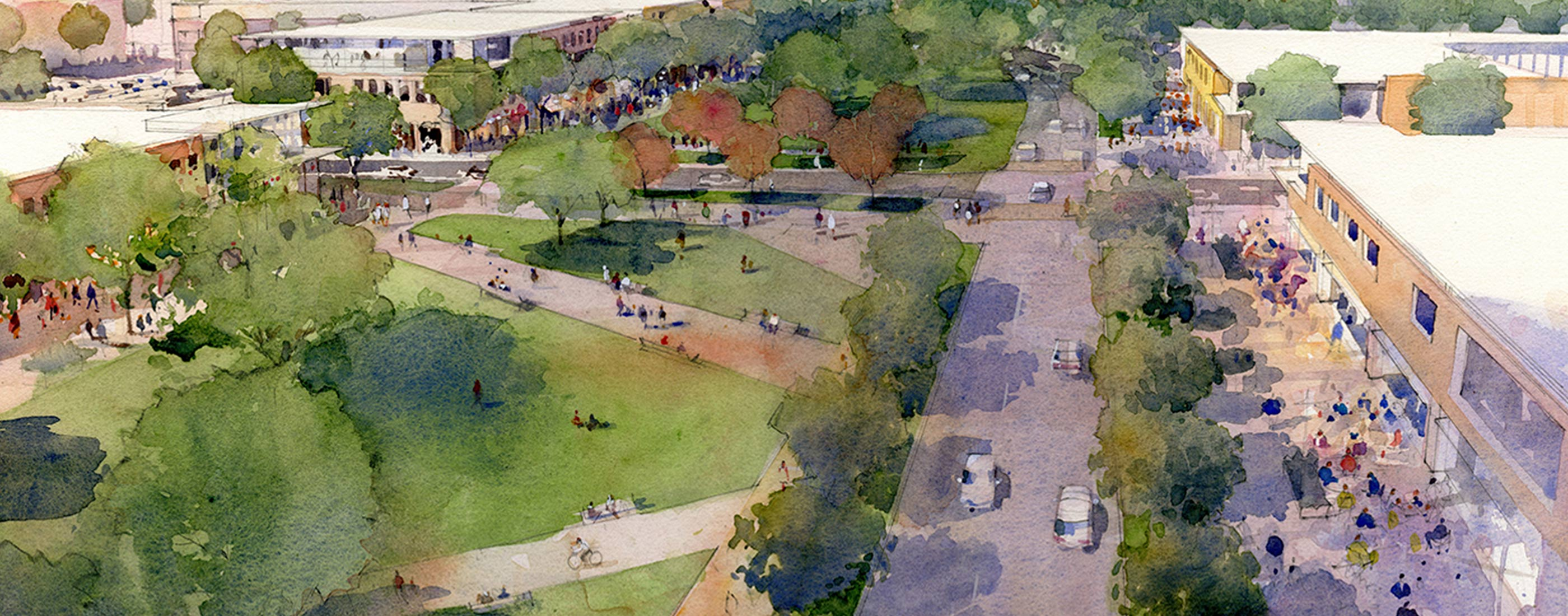 Water color of OHM Advisors' vision to develop Northland Mall into a mixed-use public space