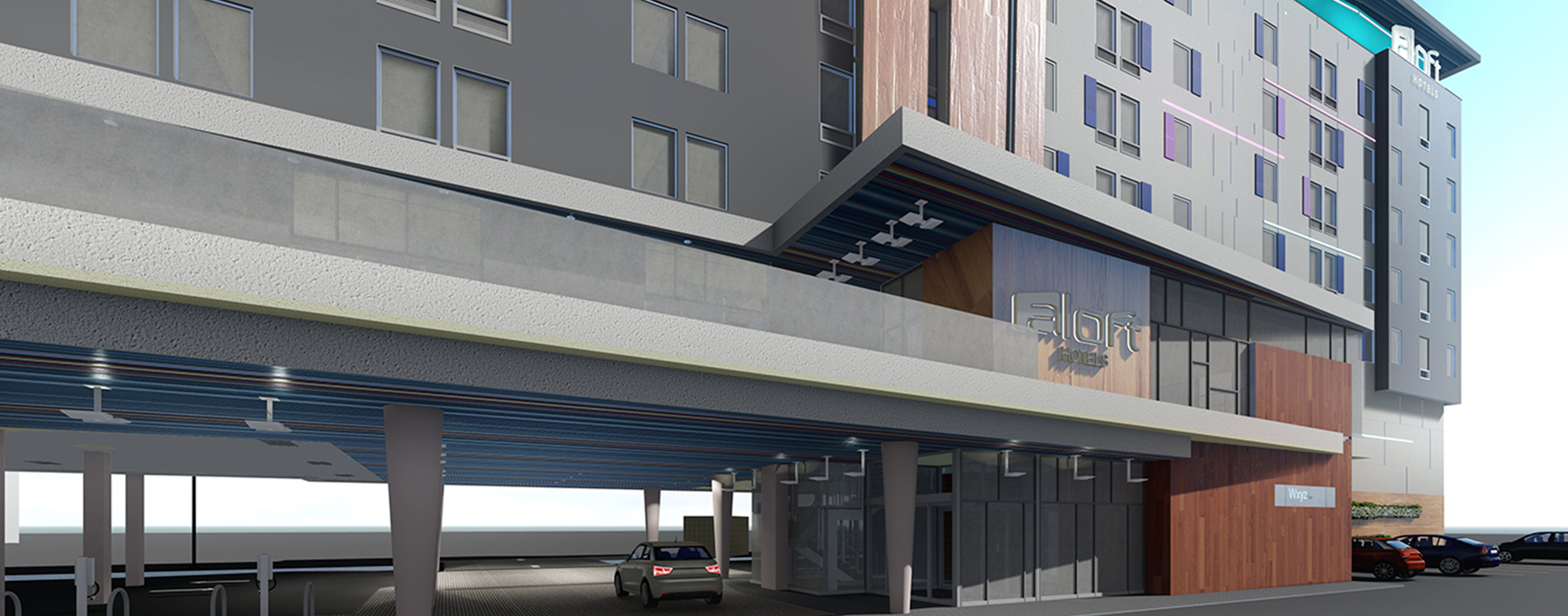 Entry into the LEED designed Aloft Hotel.