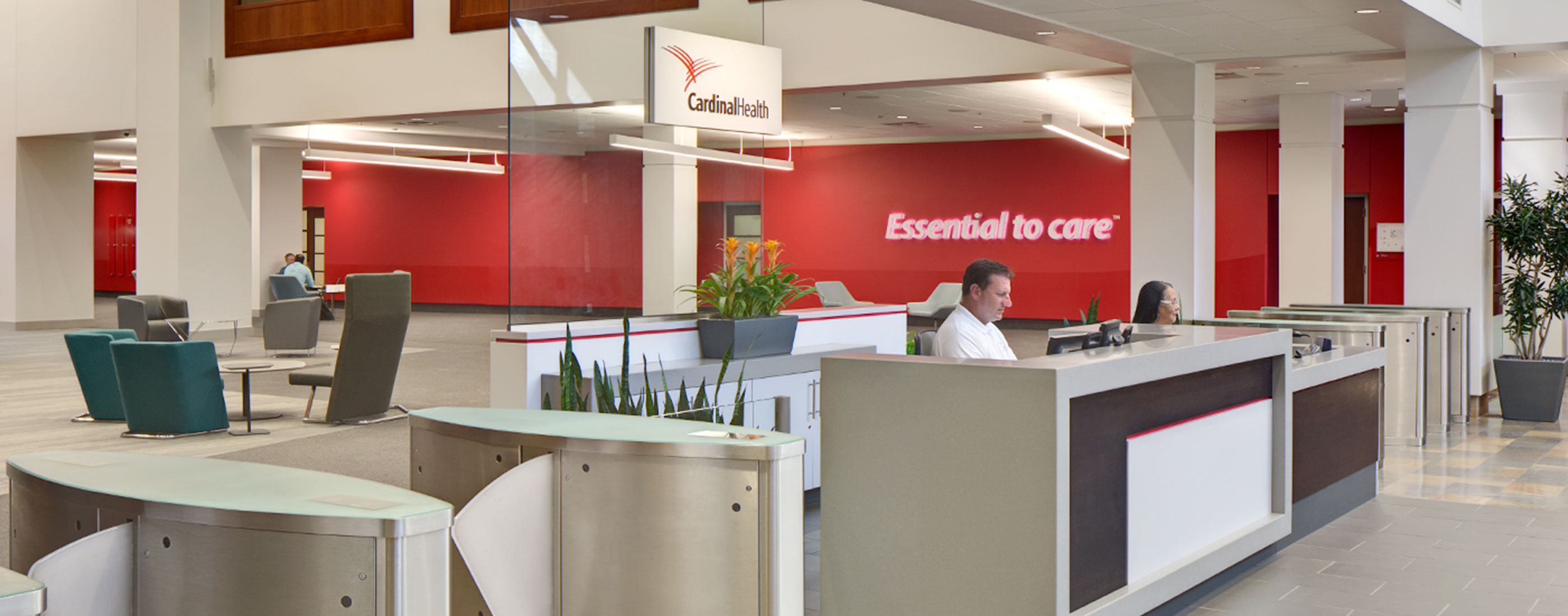 A new Client Experience Center in Cardinal Health's headquarters welcomes visitors to the newly expanded space, designed by OHM Advisors.