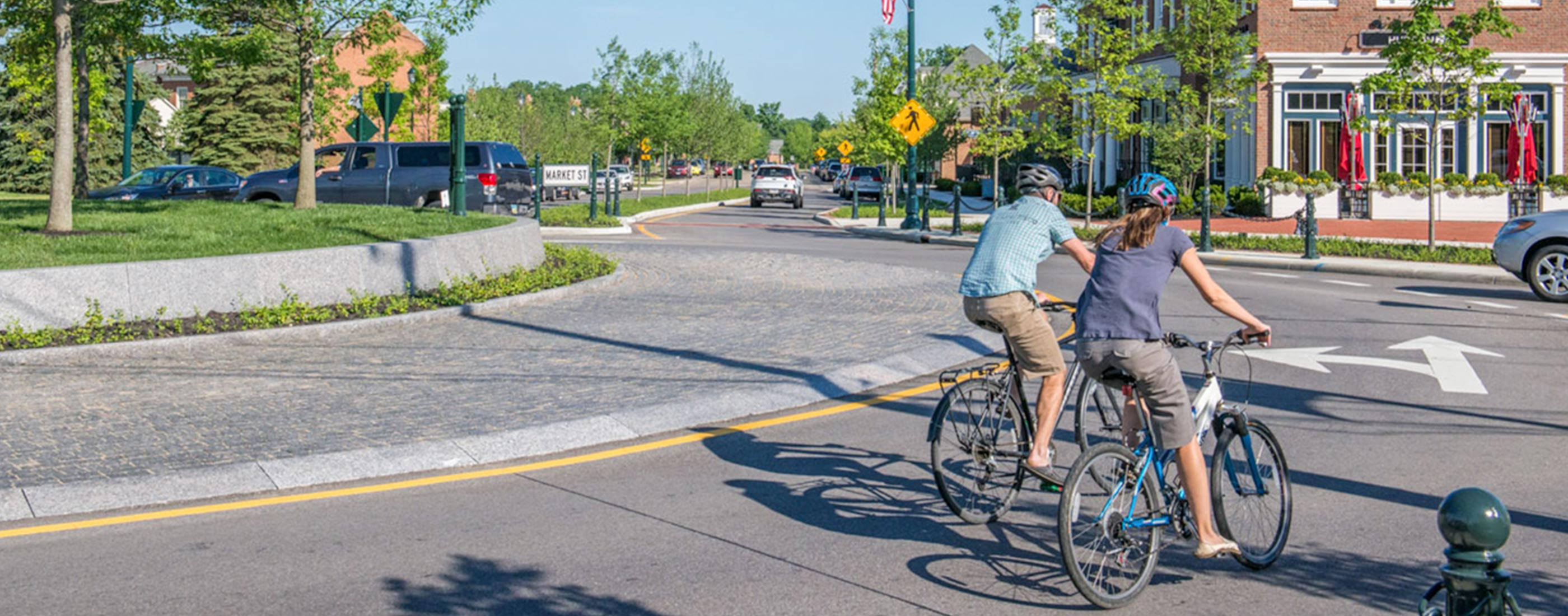 New Albany, Ohio's central roundabout, designed by OHM Advisors, provides safe bike lanes.