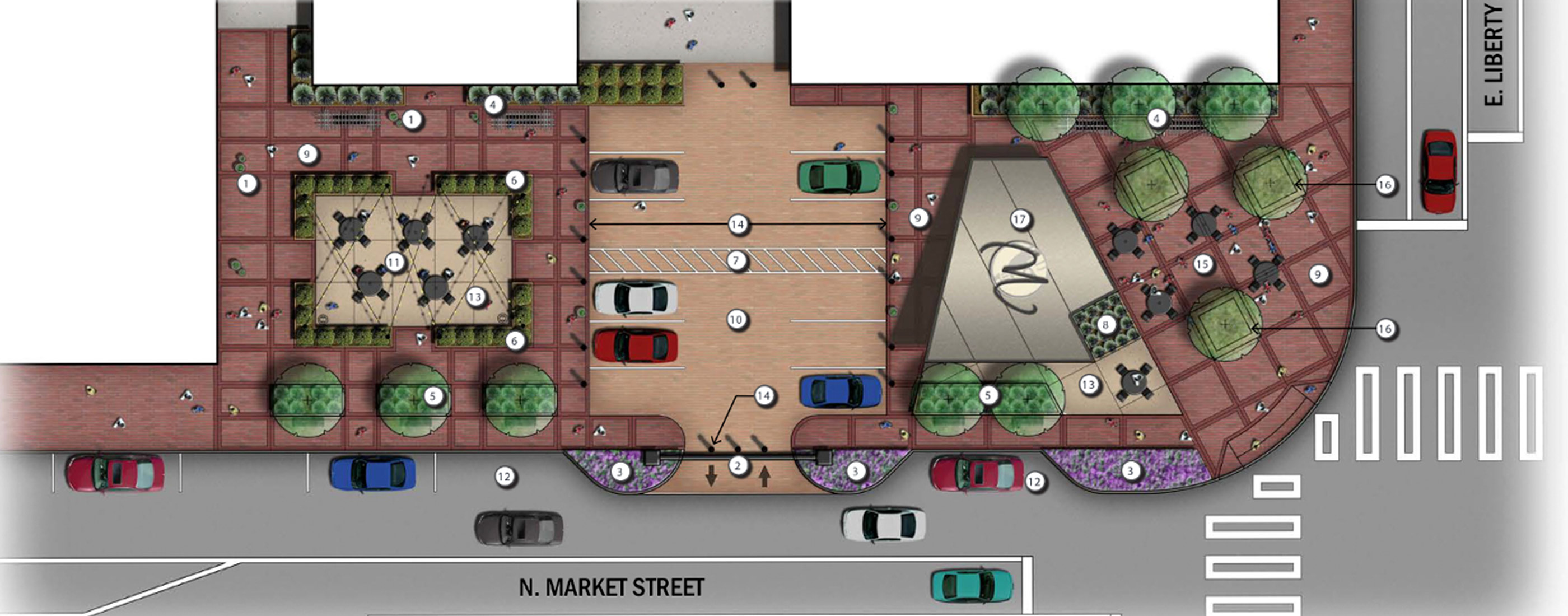 A rendering of Downtown Wooster, Ohio's N. Market Street streetscape improvements.