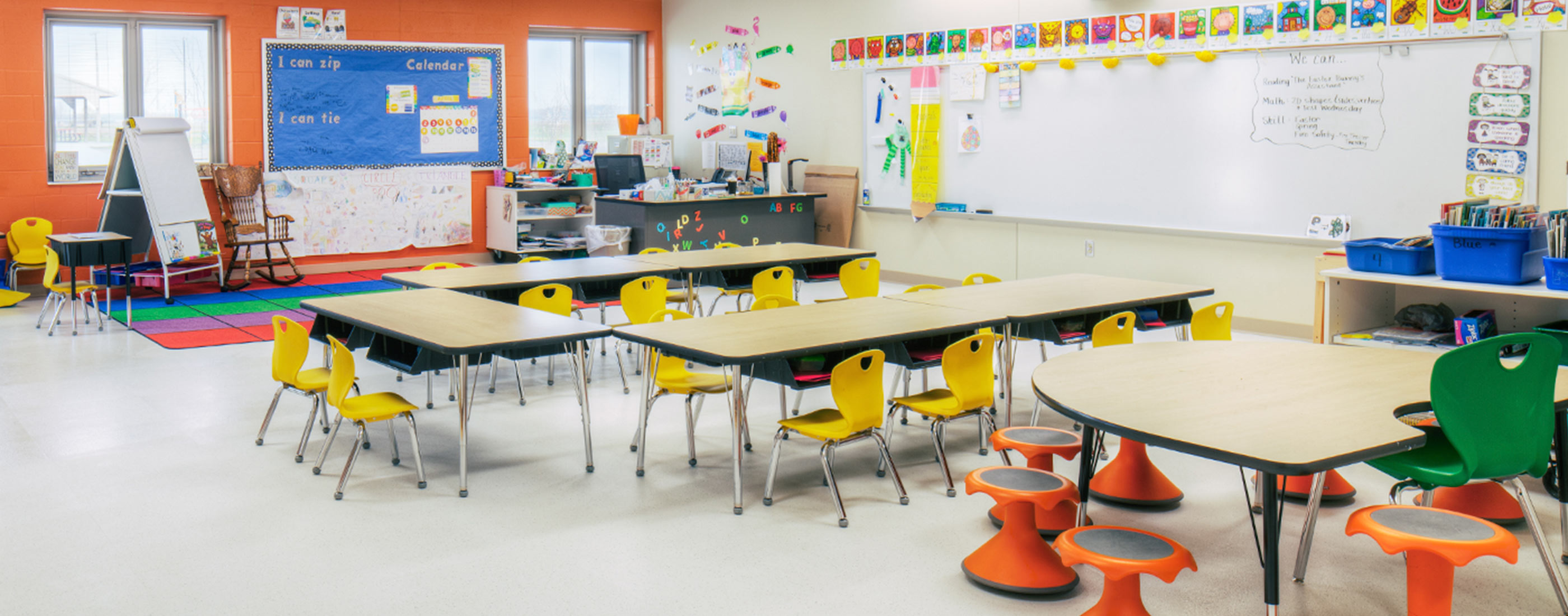 Reconfigurable furniture and bright colors create a flexible classroom in West Liberty-Salem Local School District's campus, designed by OHM Advisors.