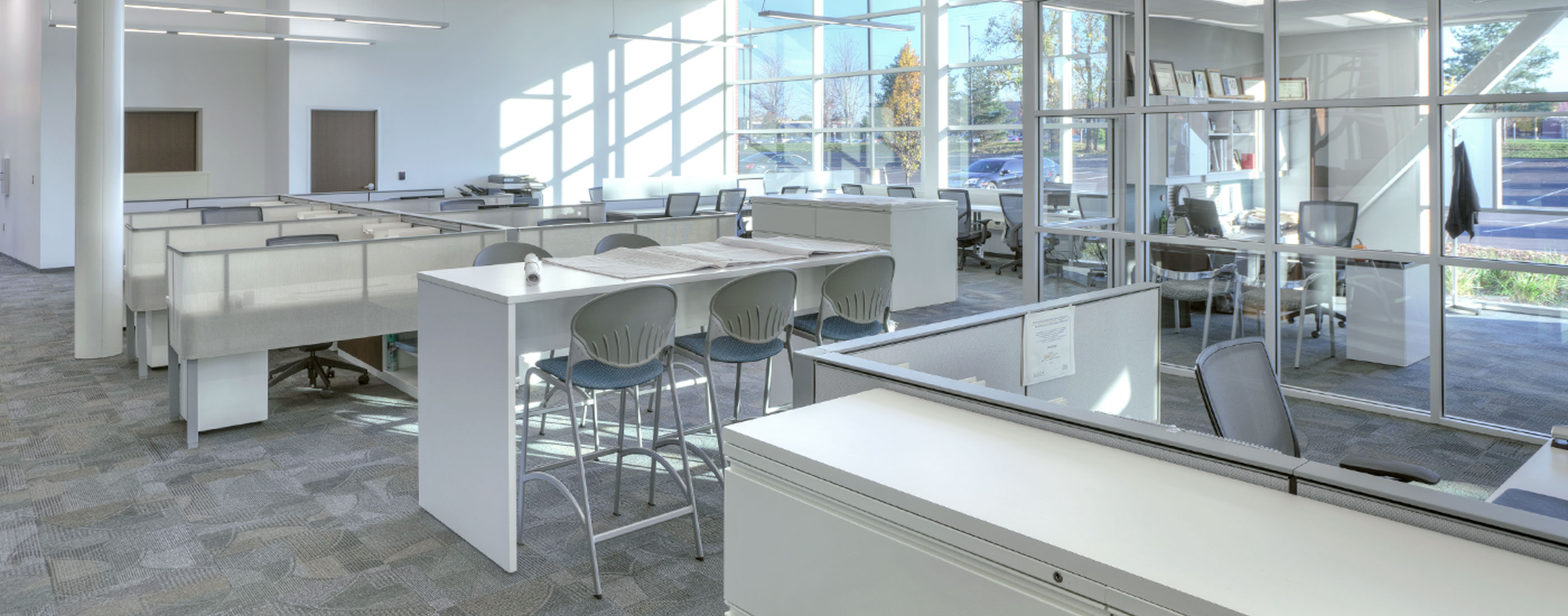 Bright, friendly office spaces about in Westland, Michigan's City Hall, designed by OHM Advisors