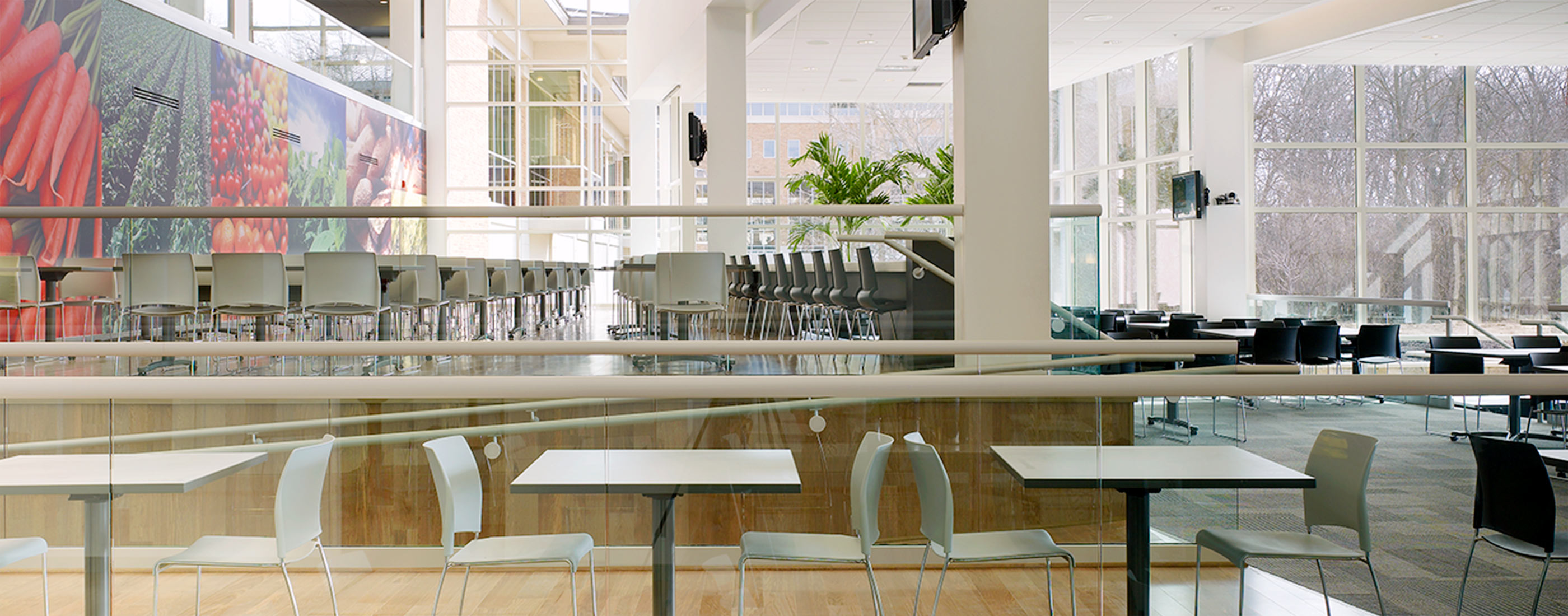 The bright, airy and open cafeteria at Cardinal Health's headquarters, helps engage employees and enhance the corporate culture.