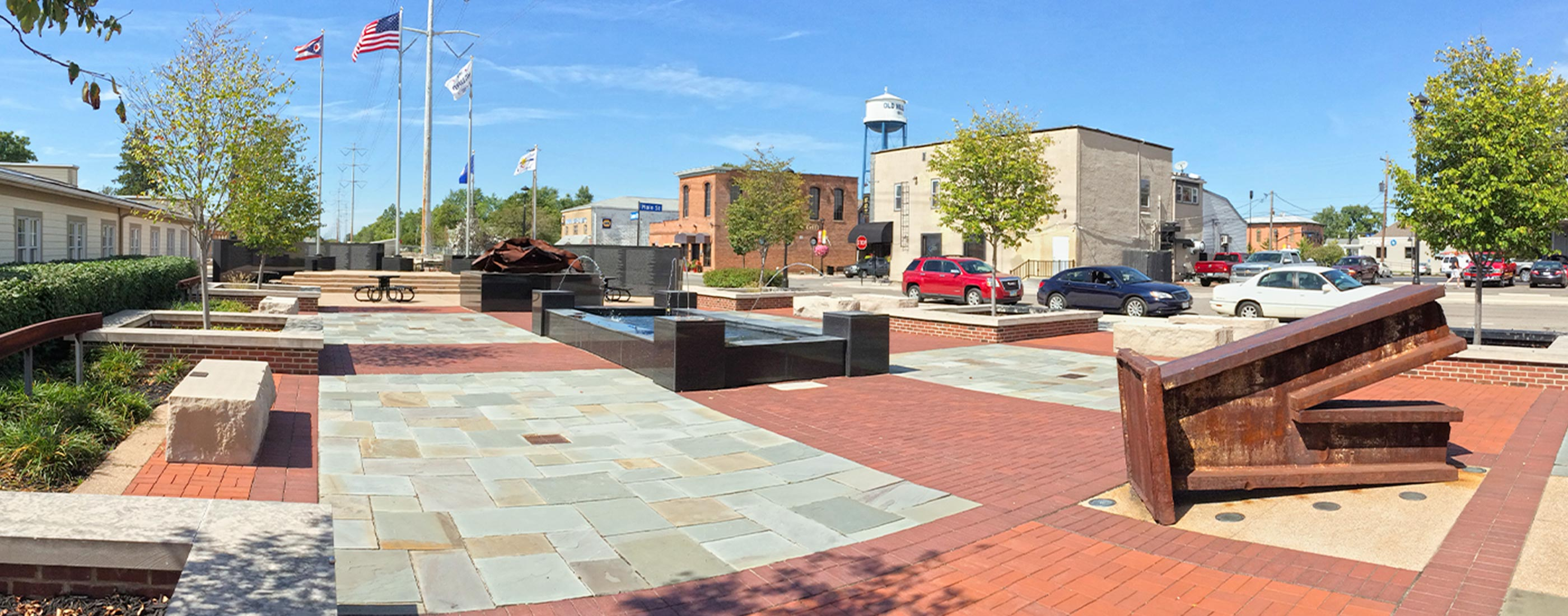 Hilliard First Responders Park is made up of a series of contemplative spaces, and incorporates fountain features, seating areas, sculptures, and memorial monuments.