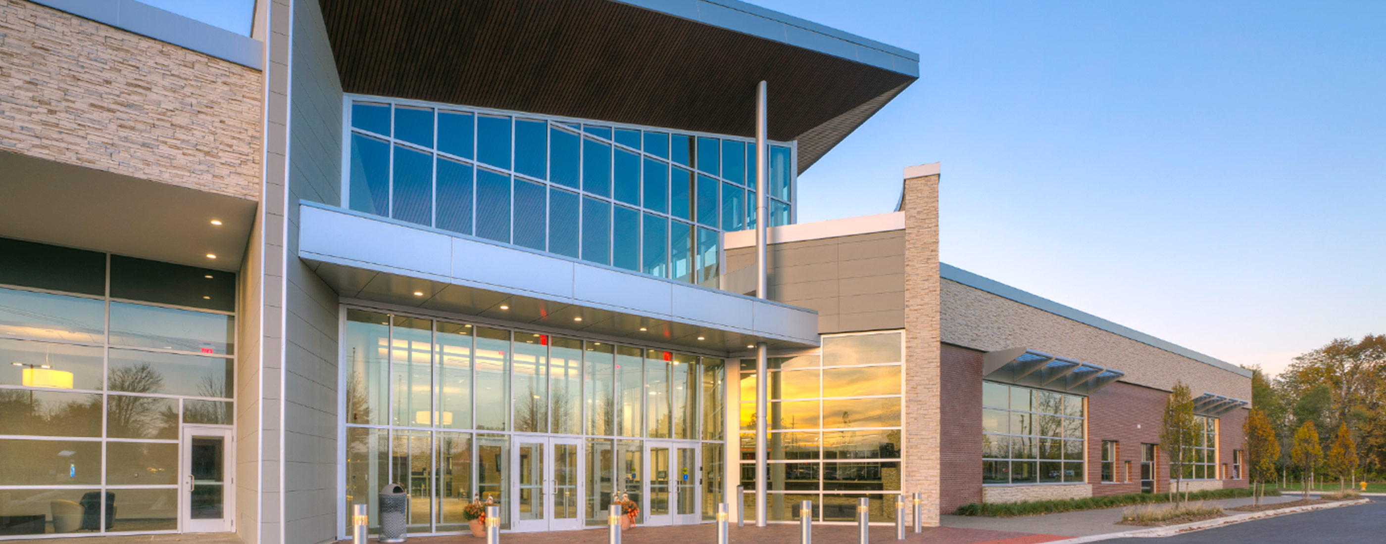 Westland, Michigan's City Hall boasts expansive glass panels so daylight can flood an open concept interior.