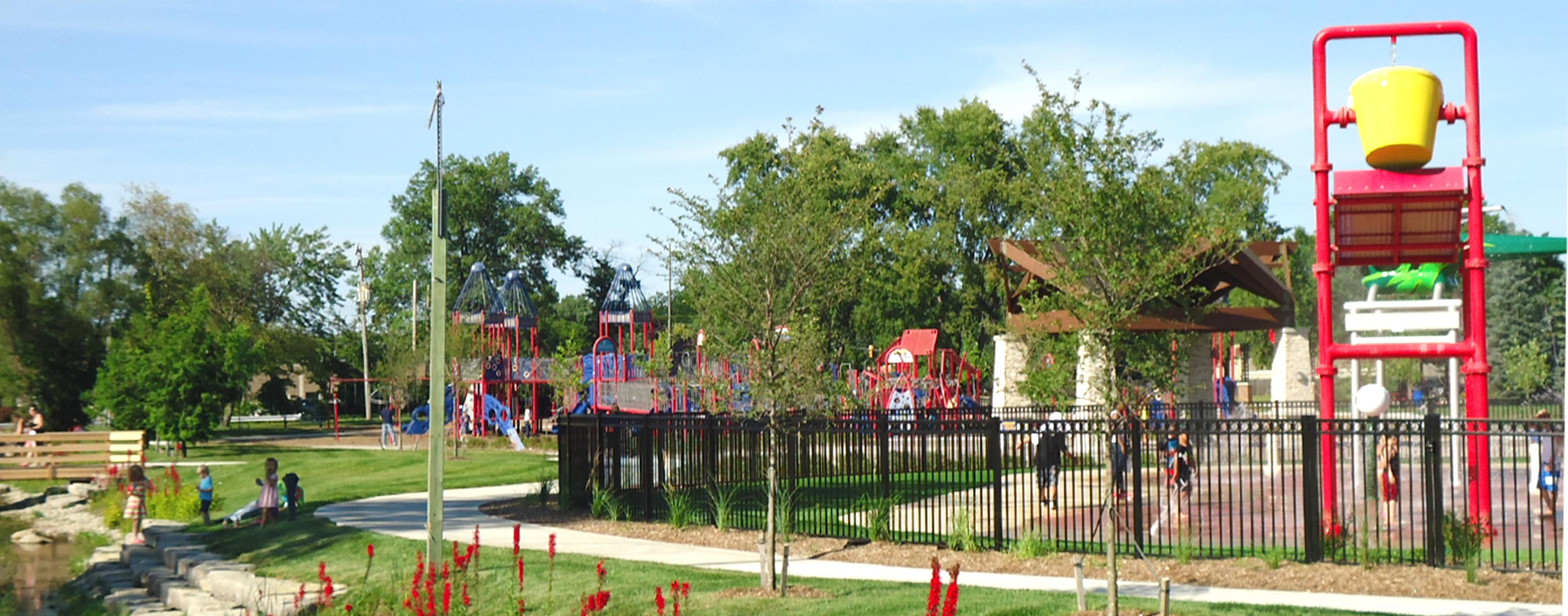 The splash pad and playground at Westland Tattan Park.