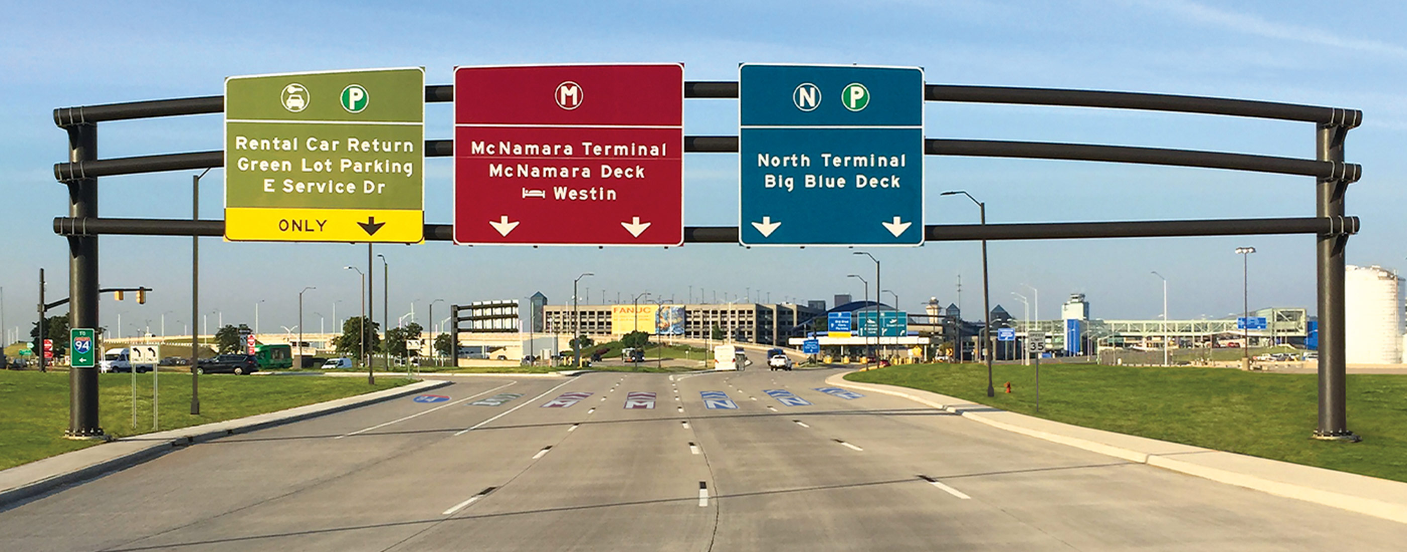 Signage pavement treatment at the Detroit Metro Airport.