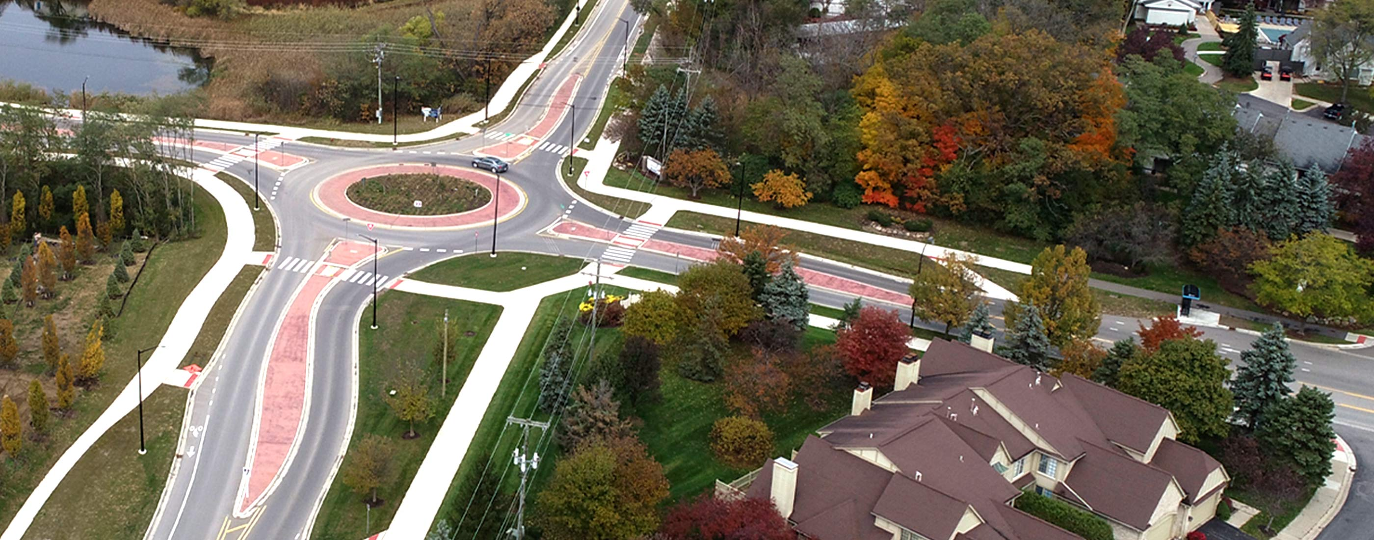 OHM Advisors completed a roundabout design at the highly-traveled intersections of Nixon, Green and Dhu Varren roads.