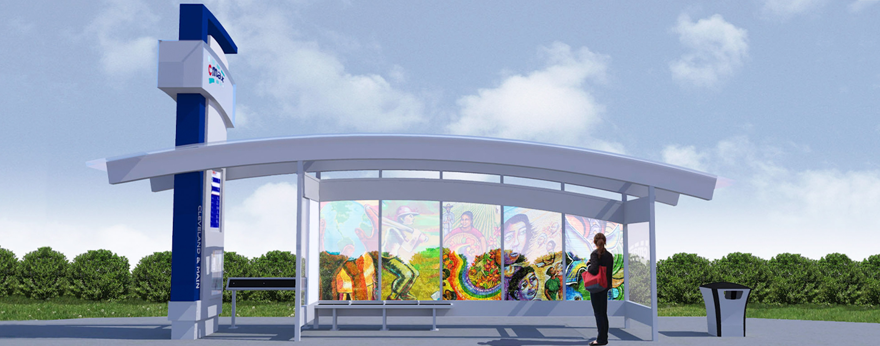 A rendering of local artwork at one of the CMAX stations.