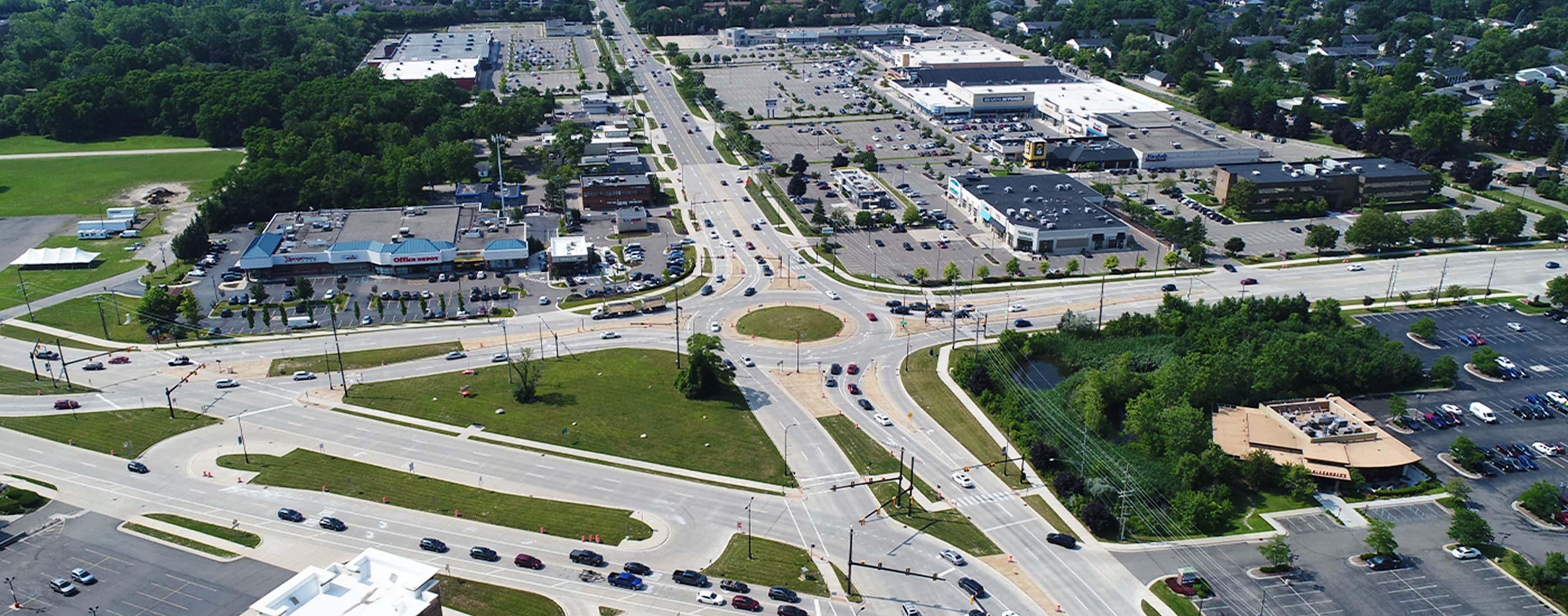 The Orchard Lake Boulevard included reconstruction from a 5-lane road to a 4-lane boulevard.