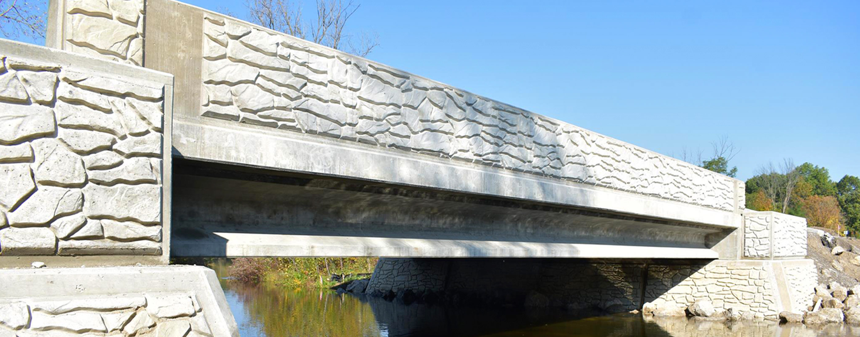 A side view of the new Wixom Road bridge spanning the Huron River.