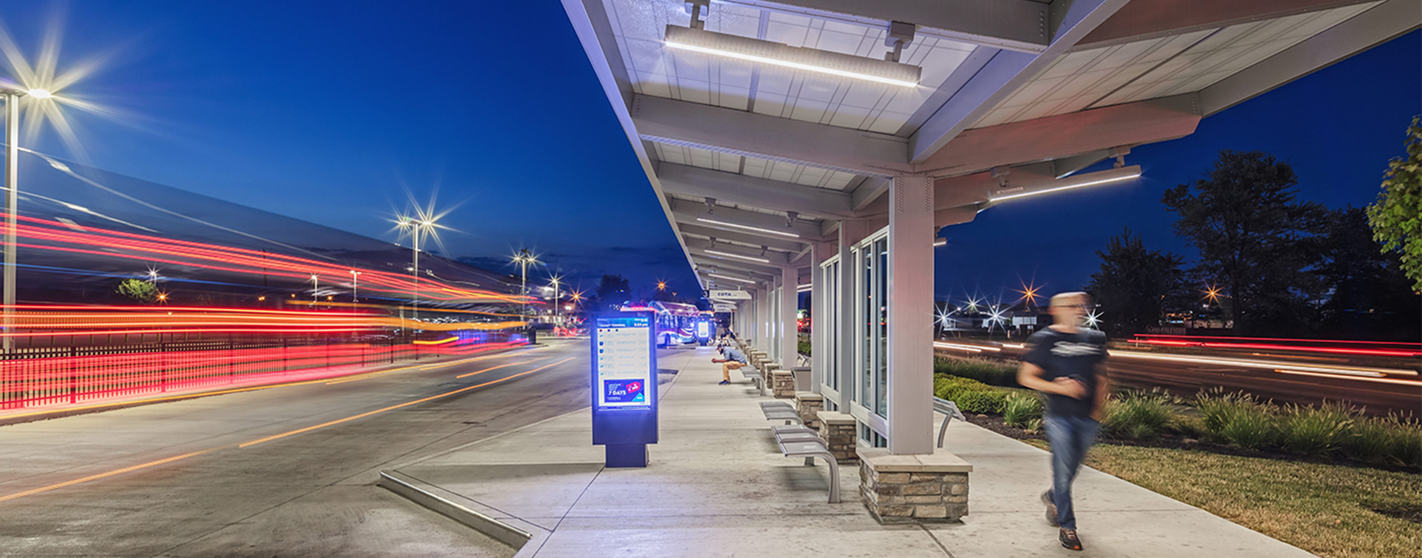 A nighttime view of COTA's bus rapid transit line.