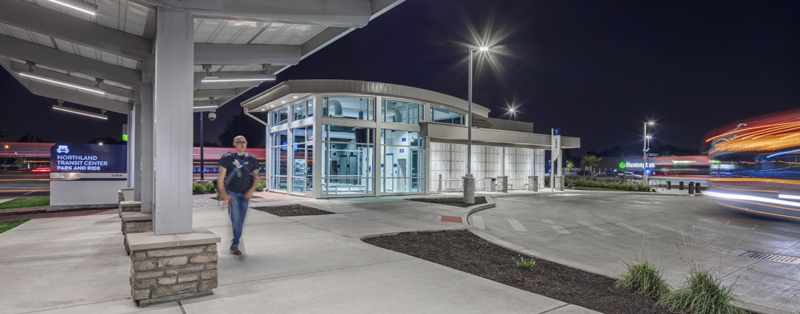 A nighttime view of COTA's Northland Transit Center Park and Ride.