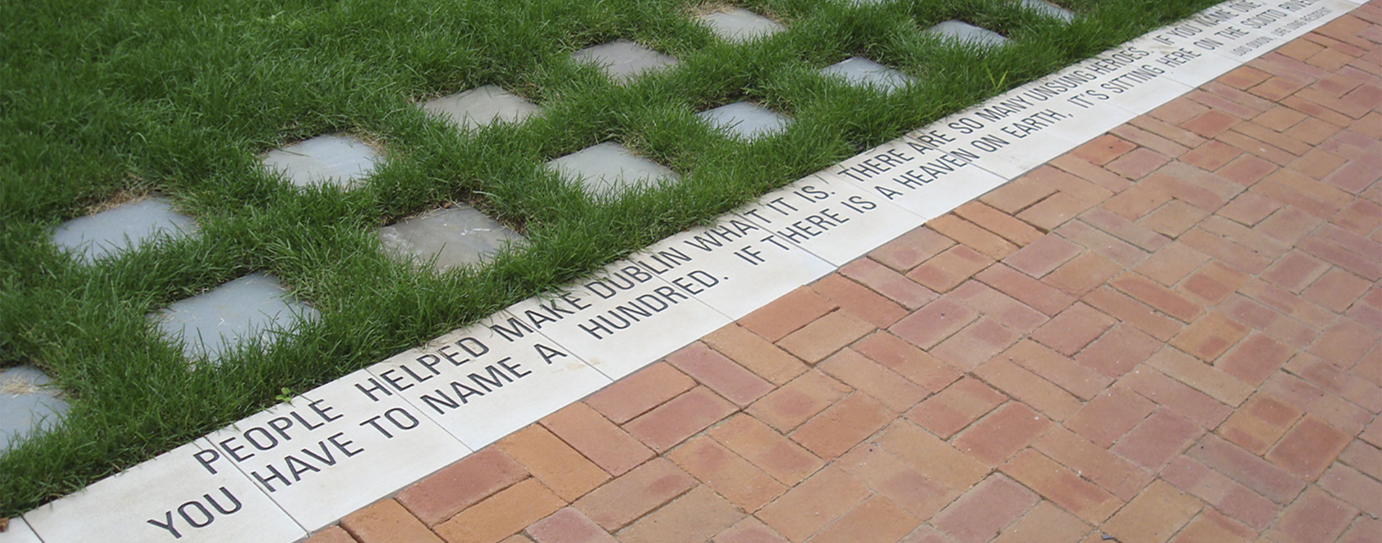 Life long resident quote stamped in BriHi Square's town center.