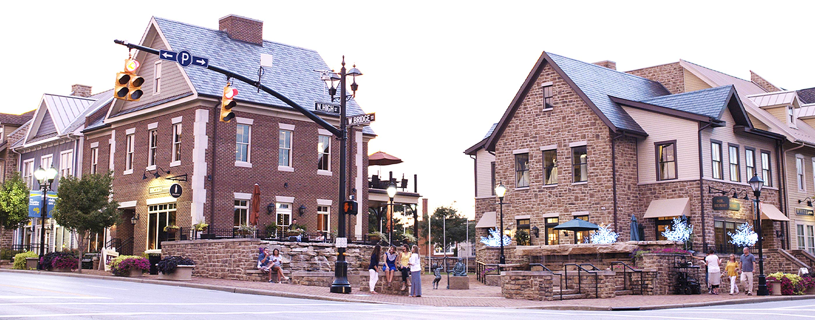 Historic downtown intersection at Bridge and High Streets in Dublin, Ohio.