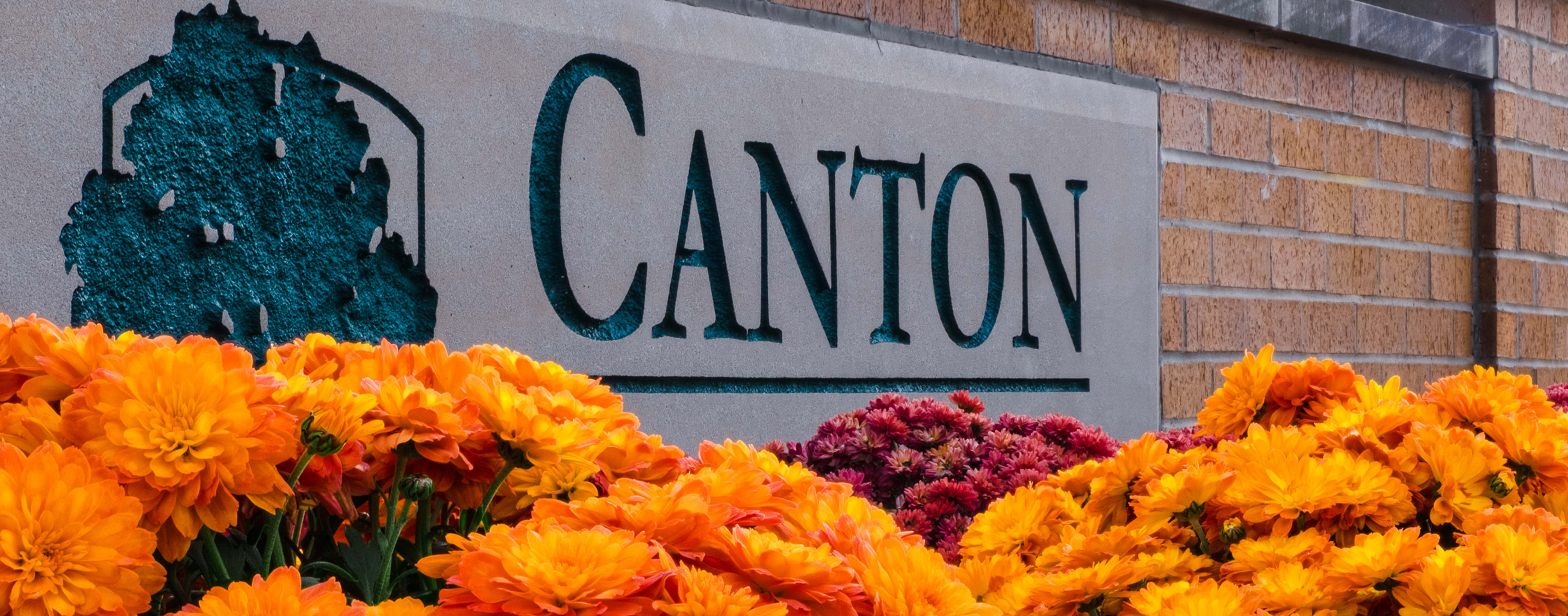 The sign welcoming you to Canton Township, Michigan.