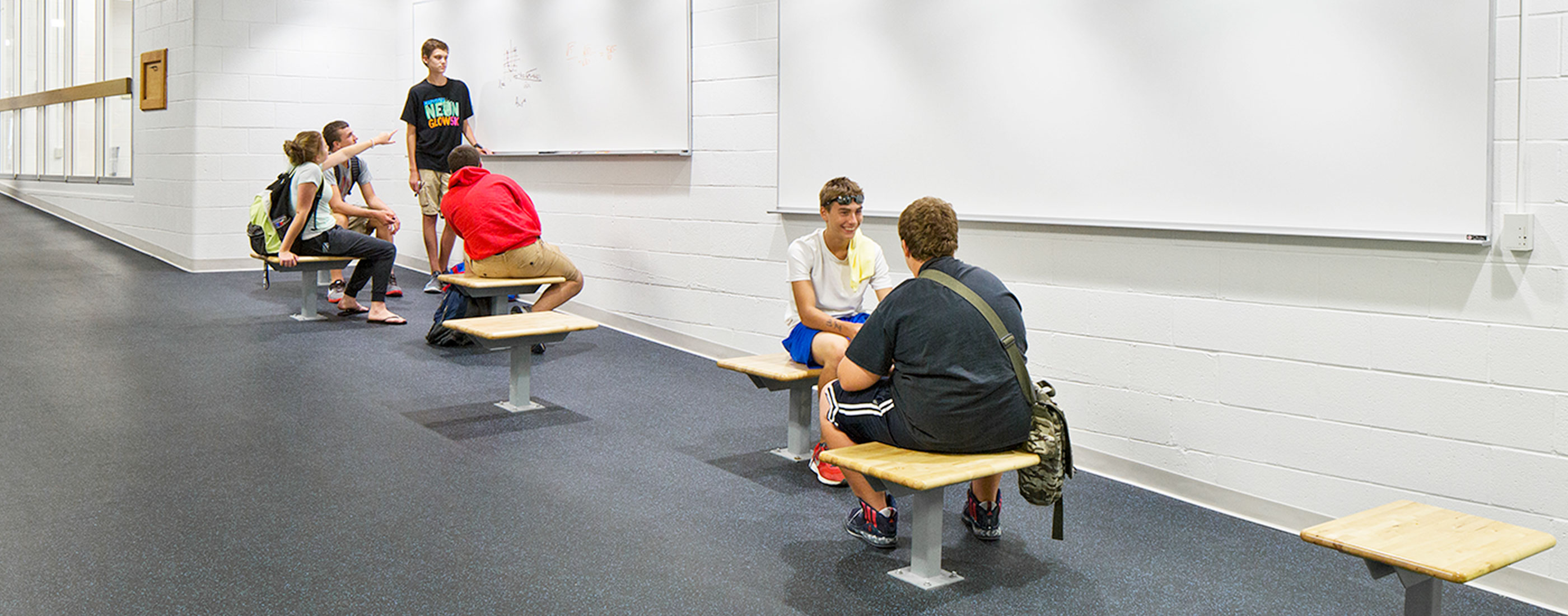 Students in Marysville's STEM High School, designed by OHM Advisors, collaborate on learning projects in shared spaces.