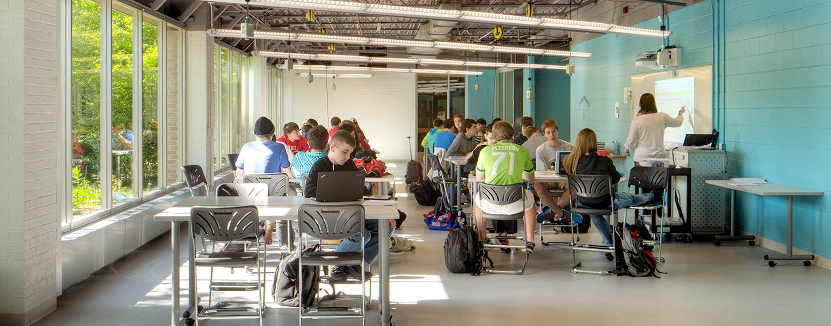 Students at Marysville STEM Early College High School benefit from natural daylight for transparency and connectivity.