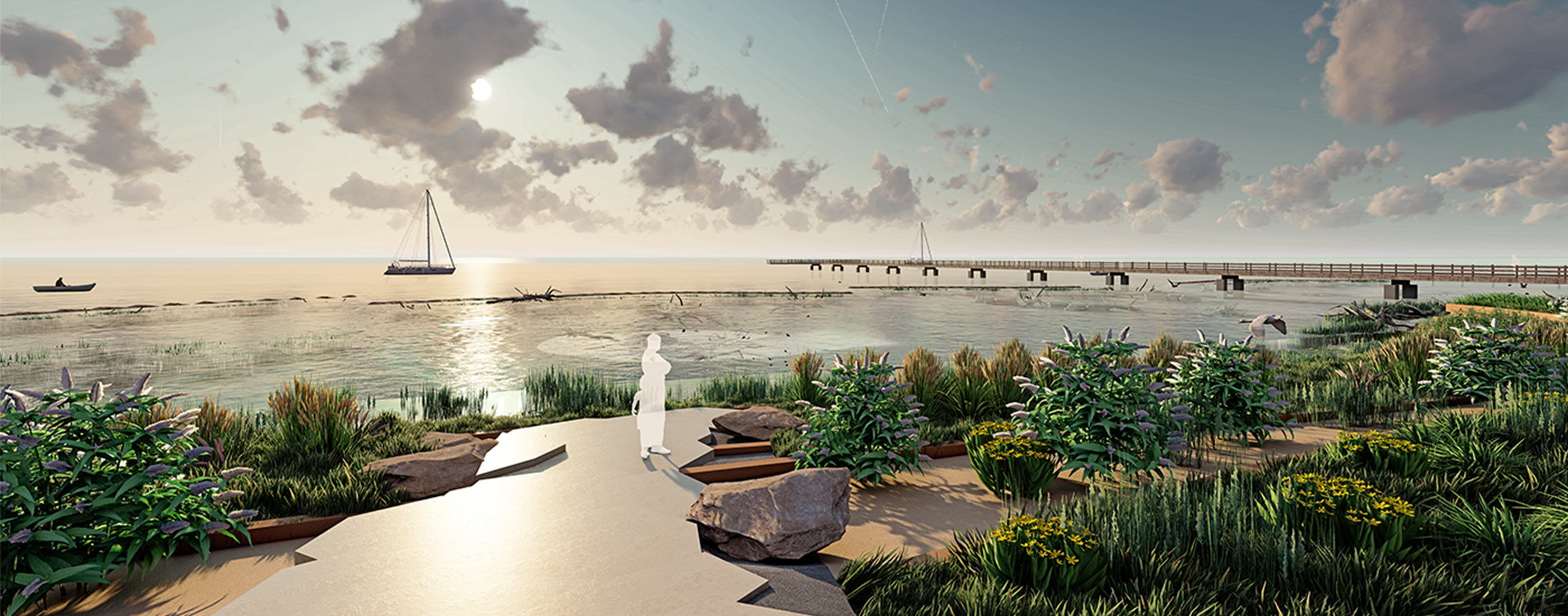 A rendering view of the proposed dock at Brandenburg Park Shoreline.