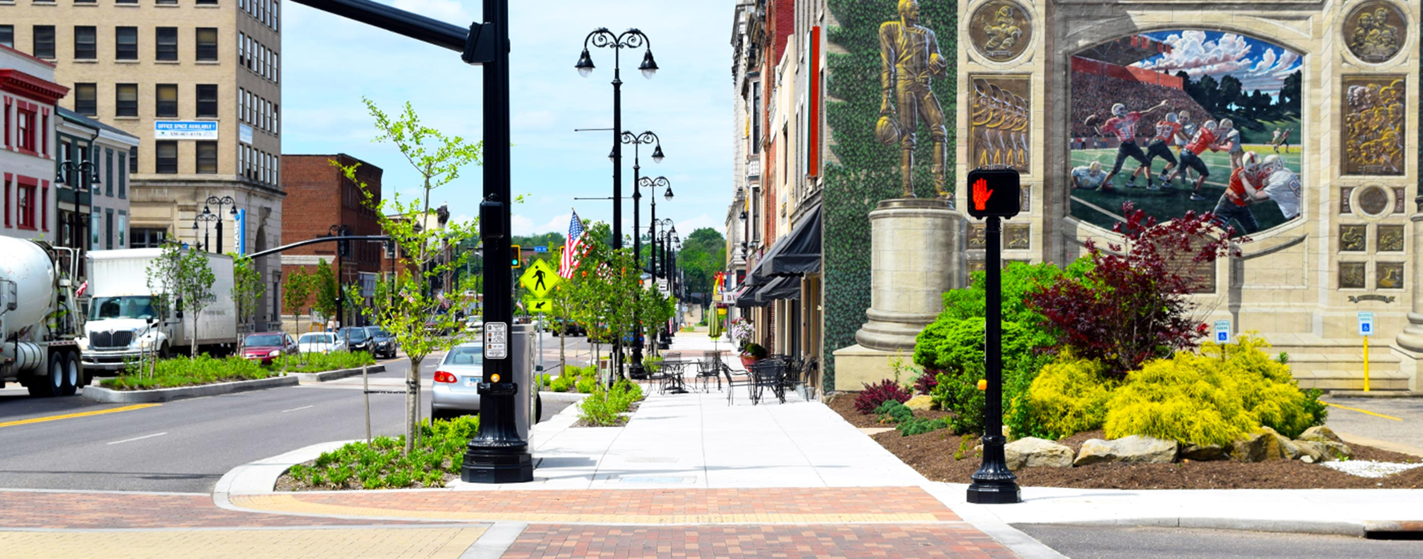 Pedestrian crossing 1 Massillon streetscape