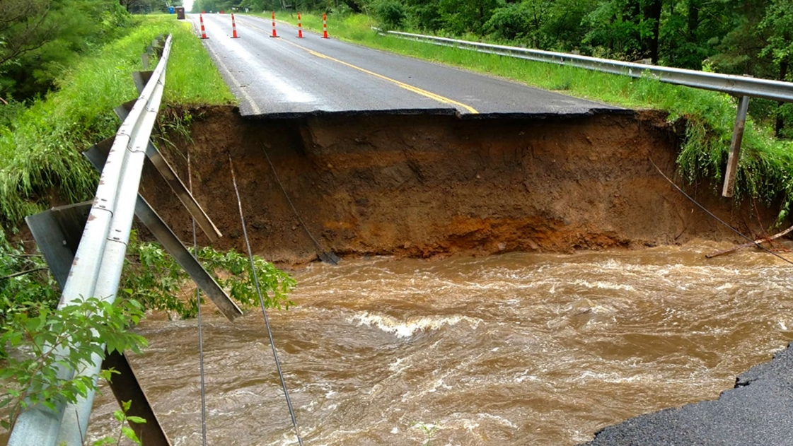 Extensive Roadway Damage in Midland County Michigan after flooding