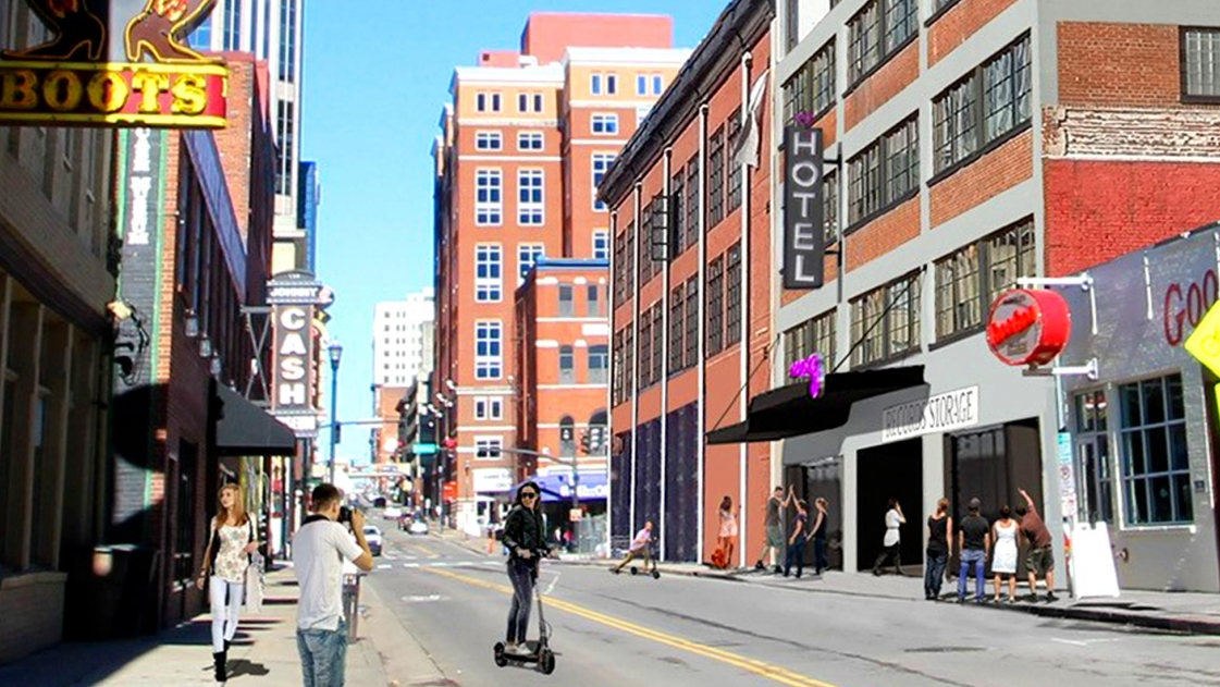 The proposed Marriott Moxy Broadway hotel street view.