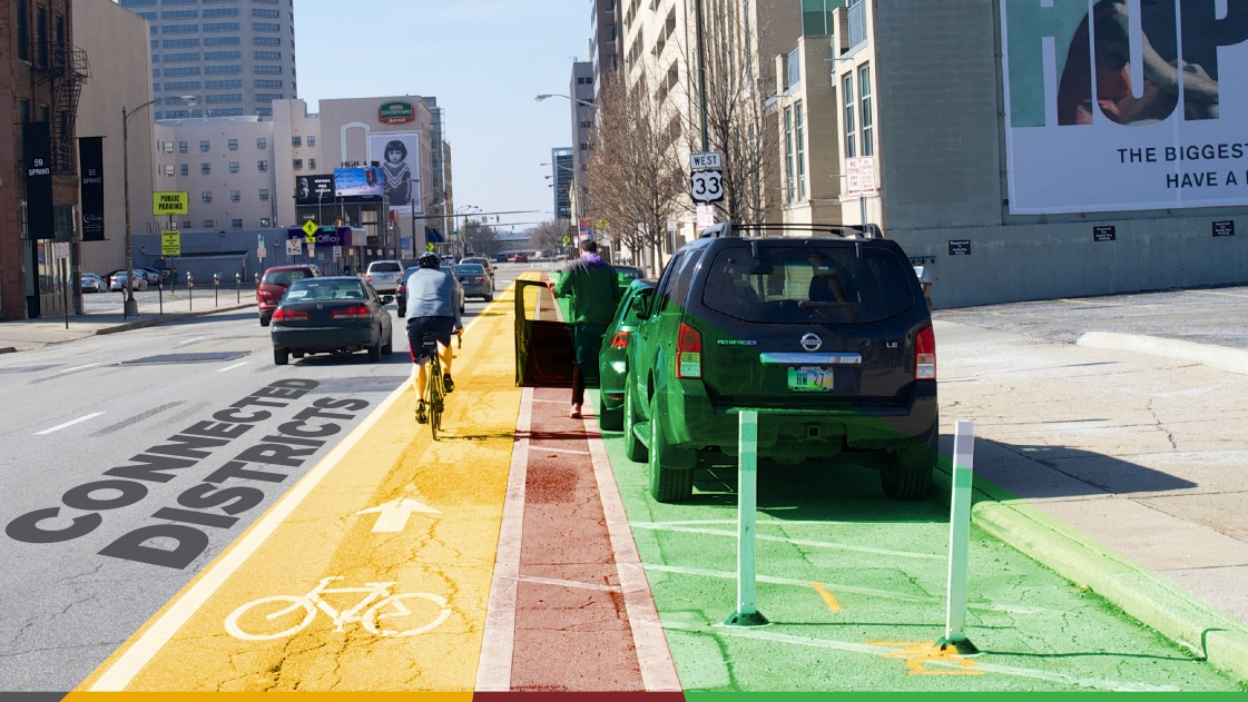 Bike lanes are included in the ASHE-honored downtown street conversion project.