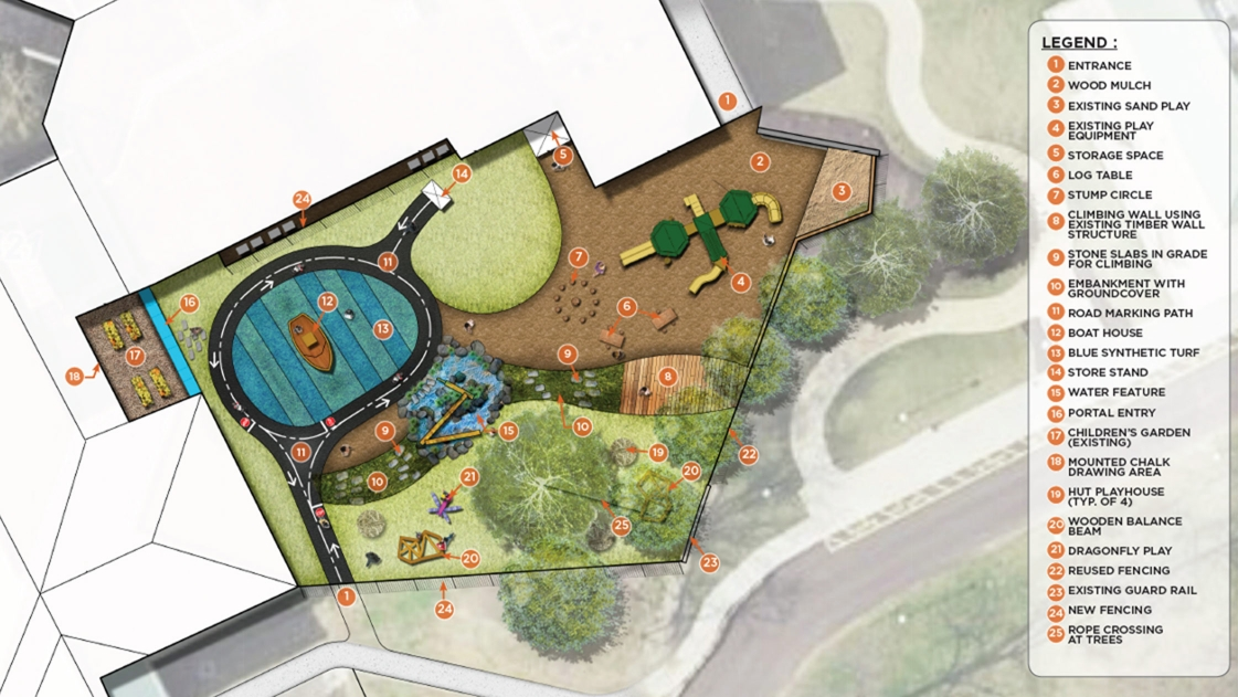 An aerial shot of the inclusively-designed Columbus Academy Playground.
