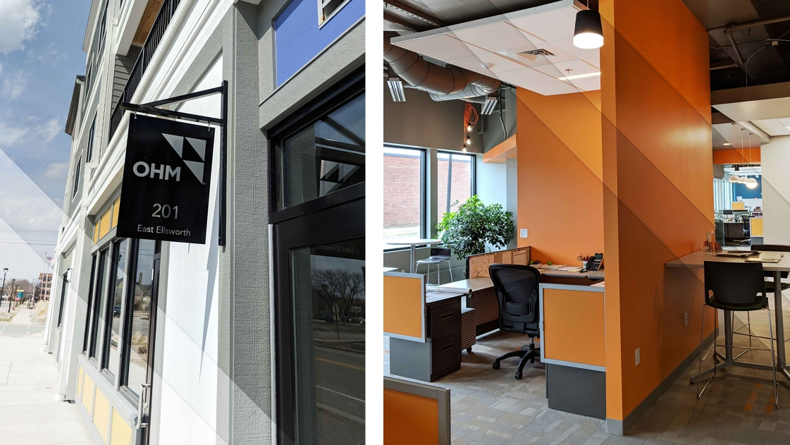 Exterior and interior image collage of newest Midland office