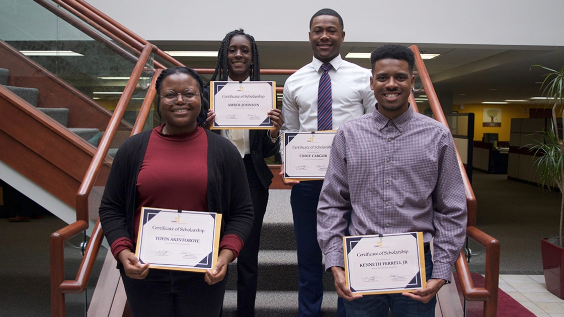 2019 Diversity Scholarship Winners at OHM Advisors office in Livonia.
