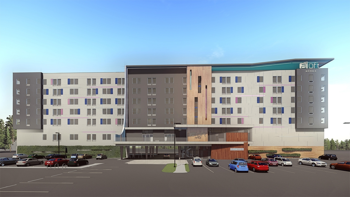 OHM Advisors' newly-designed Aloft hotel will offer 164 modern and upscale rooms.