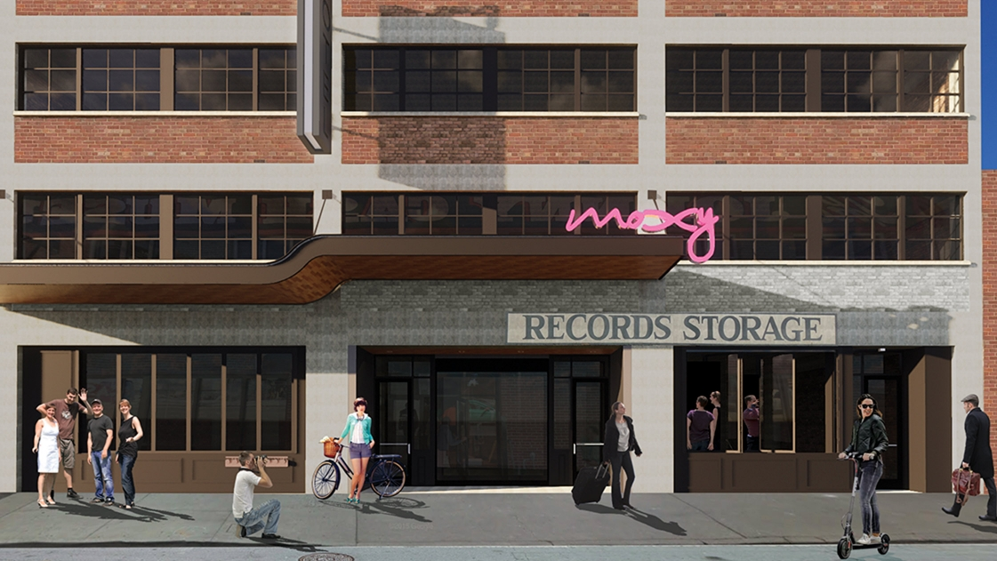 Nashville's musical heritage integrated into the Moxy hotel design.