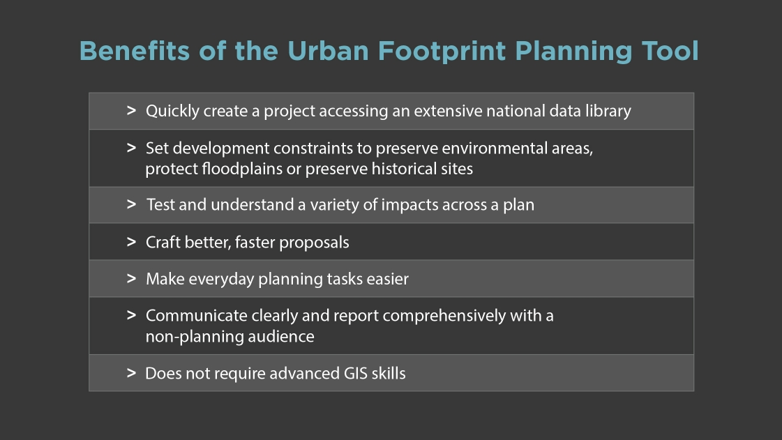 Benefits chart of the Urban Footprint Planning Tool.