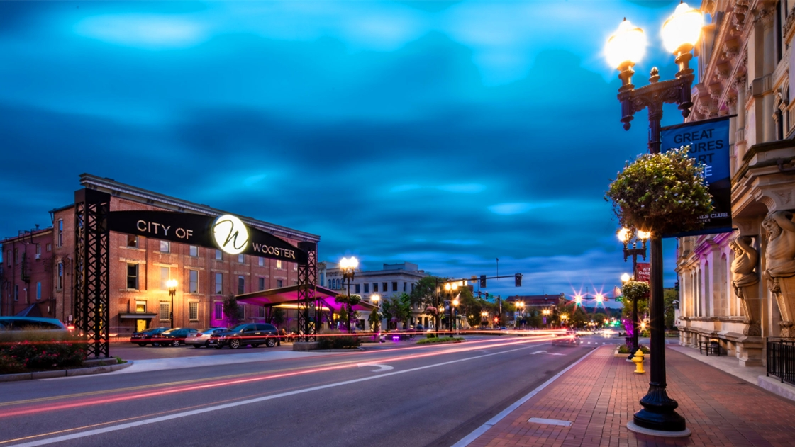 A nighttime view of the award-winning Wooster Downtown Plan.