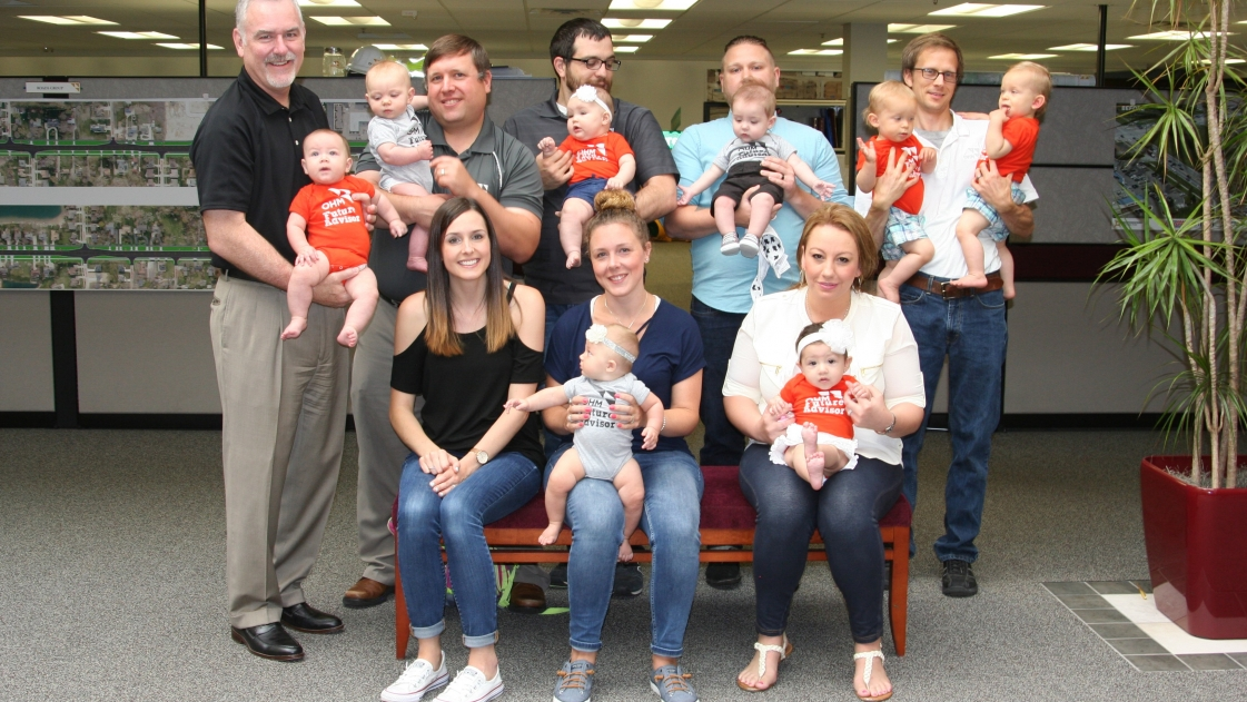 A group photo of babies born to OHM Advisors employees.