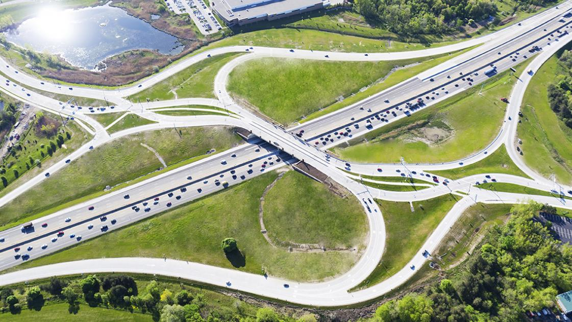 Michigan's first diverging diamond interchange designed by OHM Advisors is officially open in Auburn Hills, MI
