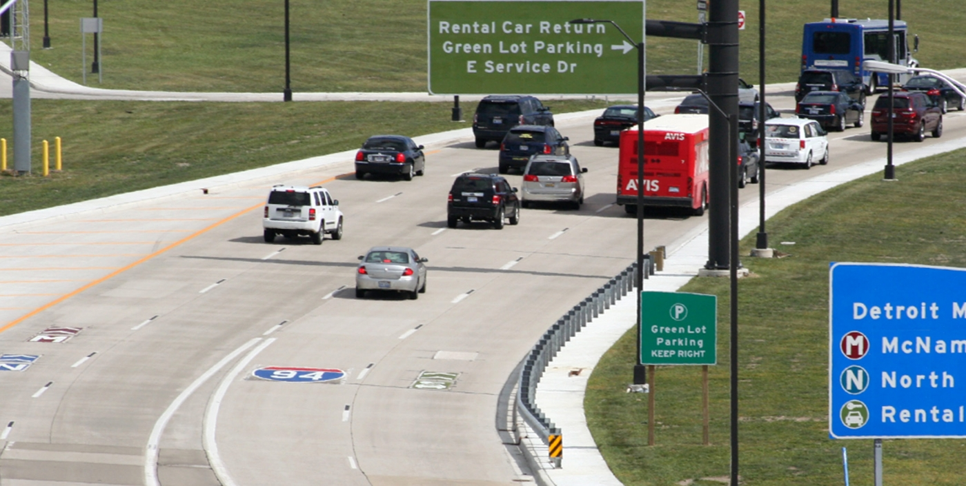 The Detroit Metropolitan Airport entrance now includes better signage and less traffic, thanks to work from OHM Advisors.