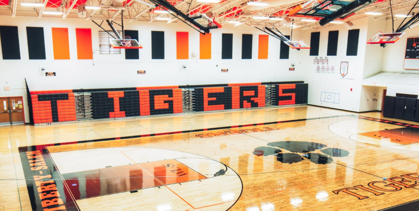 OHM Advisors helped re-design this gymnasium in West Liberty-Salem Local Schools.