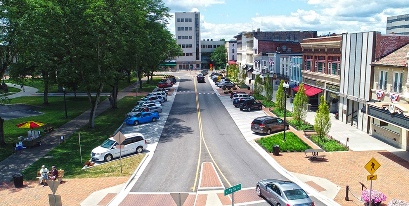 The improved traffic plan in Newark, Ohio, designed by OHM Advisors, helps traffic flow and pedestrian safety.