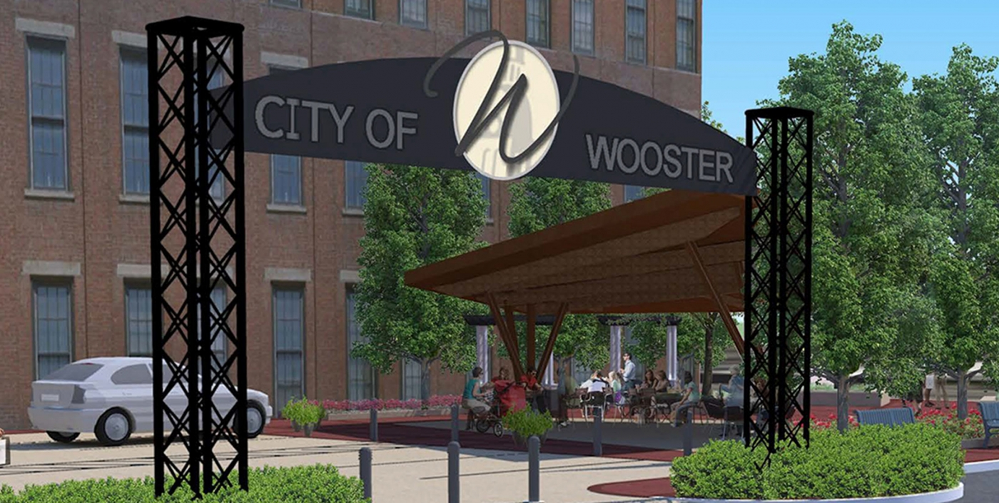Wooster, Ohio's downtown, designed by OHM Advisors, aims to attract visitors with public greenspace and streetscape improvements.
