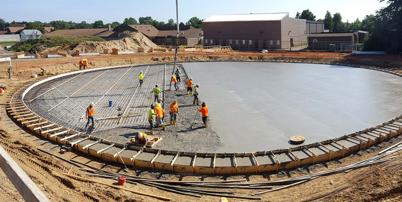 Construction of Canton, Michigan's water storage tank, designed by OHM Advisors to reduce costs.