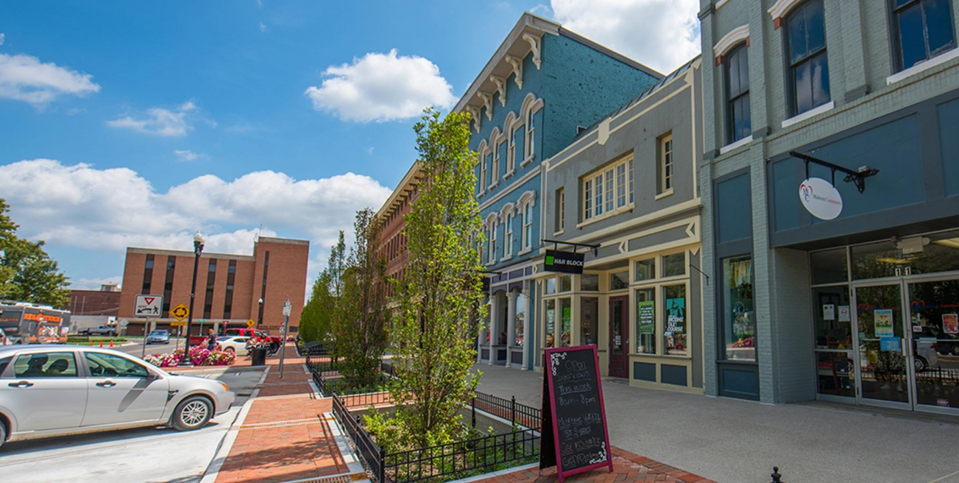 Newark, Ohio's business-friendly downtown, re-designed by OHM Advisors, features small shops and has helped spur the local economy.