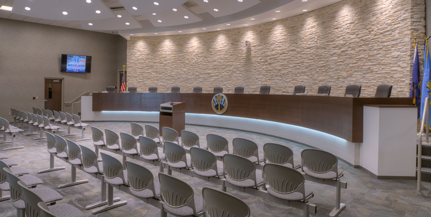 The new city council chambers in Westland, Michigan's City Hall, designed by OHM Advisors