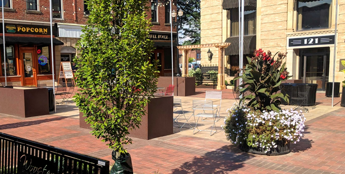 The plan for Wooster, Ohio's downtown, designed by OHM Advisors, attracts visitors with public greenspace and streetscape improvements.