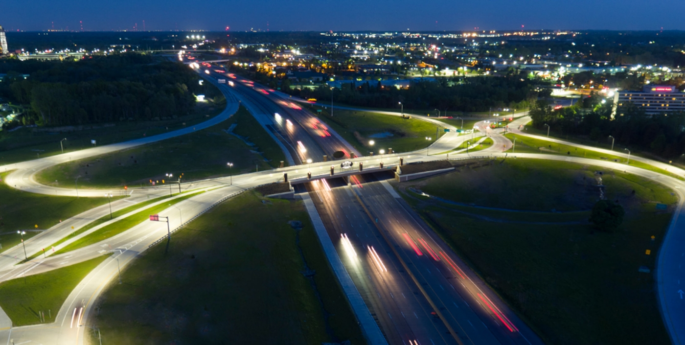 The Diverging Diamond Interchange located at Auburn Hills, MI's I-75 and University Drive improves traffic flow and safety.